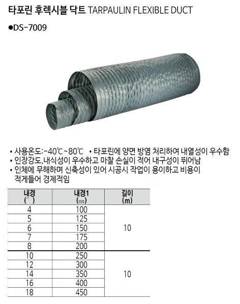 타포린후렉시블닥트 10인치(250)x10M DS-7009 디.에스.인더스트리 제조업체의 산업용품/닥트호스 가격비교 및 판매정보 소개